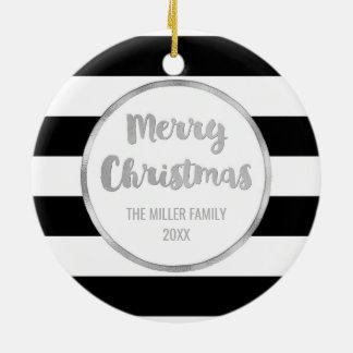 Ornement Rond En Céramique Photo noire de Joyeux Noël d'argent de rayures