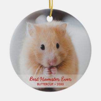 Ornement Rond En Céramique Photo personnalisée d'animal familier de hamster