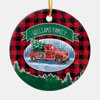 Ornement Rond En Céramique Photo personnalisée par camion vintage de Noël