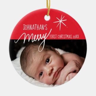 Ornement Rond En Céramique Photo rouge et blanche de premier Noël du joyeux