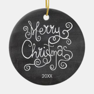 Ornement Rond En Céramique Photo vintage de tableau de calligraphie de Noël