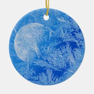 Ornement Rond En Céramique Photographie créative de lune bleue d'hiver