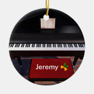 Ornement Rond En Céramique Piano et tabouret de piano rouge, modèle de Noël