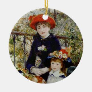 Ornement Rond En Céramique Pierre un Renoir   deux soeurs, ou sur la terrasse