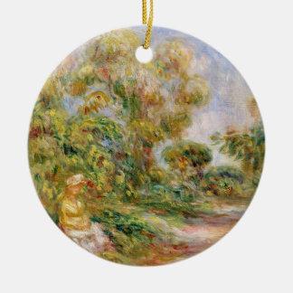 Ornement Rond En Céramique Pierre une femme de Renoir   dans un paysage