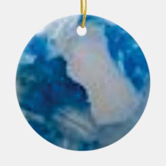 Ornement Rond En Céramique pierres bleues de fantaisie