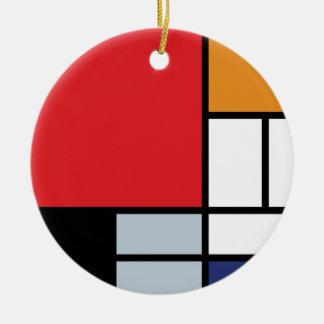 Ornement Rond En Céramique Piet Mondrian - composition avec le grand avion
