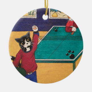 Ornement Rond En Céramique Ping-pong
