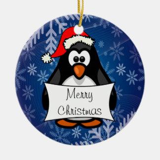 Ornement Rond En Céramique Pingouin de Noël