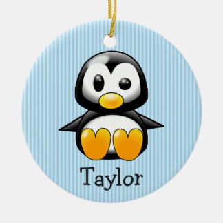 Ornement Rond En Céramique Pingouin drôle mignon fait sur commande de bande