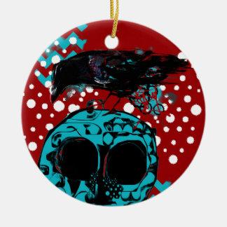Ornement Rond En Céramique Piqué Teal rouge génial de polka de déchets de