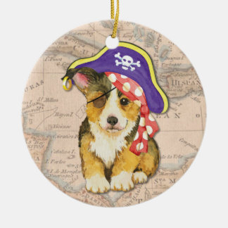 Ornement Rond En Céramique Pirate de corgi de Gallois