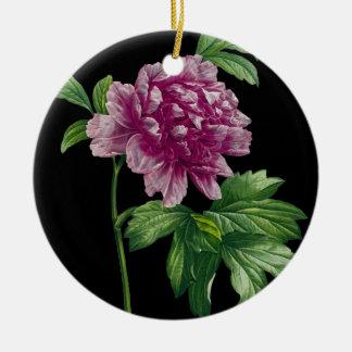 Ornement Rond En Céramique Pivoine rose sur le noir