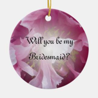 Ornement Rond En Céramique Pivoine rose vous serez ma demoiselle d'honneur