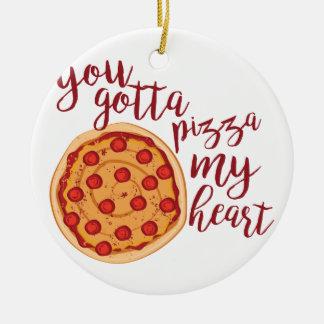 Ornement Rond En Céramique Pizza mon coeur