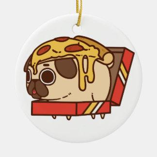 Ornement Rond En Céramique Pizza Pug-01