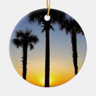 Ornement Rond En Céramique Plage de ciel de palmier d'aube d'aube de lever de