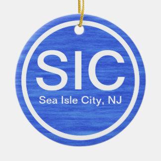 Ornement Rond En Céramique Plage personnalisée de New Jersey de ville d'île