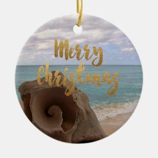 Ornement Rond En Céramique Plage tropicale de coquillage de Joyeux Noël d'or