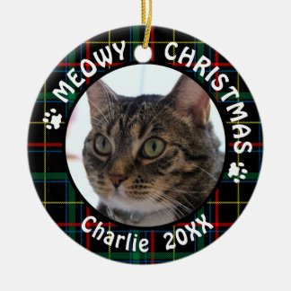 Ornement Rond En Céramique Plaid de Noël de NOËL 2-Sided du chat MEOWY