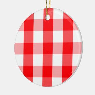 Ornement Rond En Céramique Plaid rouge et blanc de grand Noël de guingan de
