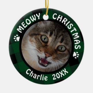 "Ornement Rond En Céramique Plaid vert de 2-Sided 2-Photo de ""Noël de Meowy"""