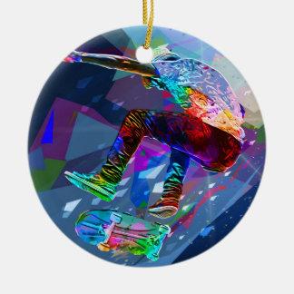 Ornement Rond En Céramique Planchiste de silhouette coloré par crayon superbe