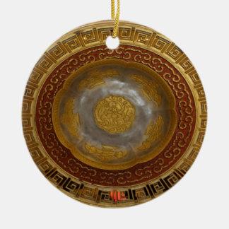 Ornement Rond En Céramique Plaque chinoise de fleur