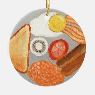 Ornement Rond En Céramique Plein petit déjeuner anglais