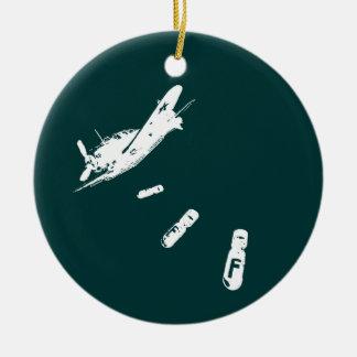 Ornement Rond En Céramique Plongeur de F-Bombe (blanc)
