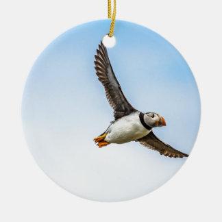 Ornement Rond En Céramique Plume de mouche de faune de vol de mer d'oiseau de