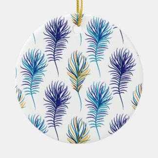 Ornement Rond En Céramique Plumes de bleu et de violette de paon
