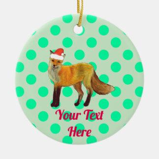 Ornement Rond En Céramique Point de polka de Fox de Noël Teal