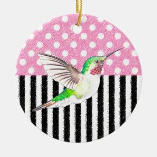 Ornement Rond En Céramique Point de polka rose de colibri