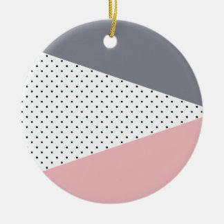 Ornement Rond En Céramique Pois géométrique pourpre élégant de rose en pastel
