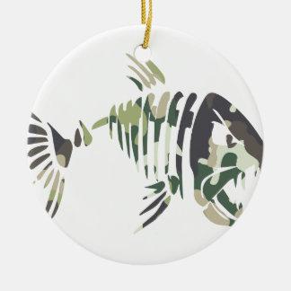 Ornement Rond En Céramique Poissons fâchés de camouflage, pour le pêcheur