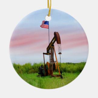 Ornement Rond En Céramique Pompe à huile avec le drapeau américain