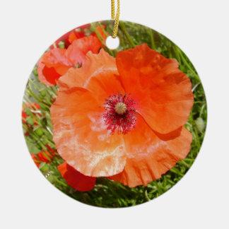 Ornement Rond En Céramique Poppies - Coquelicots