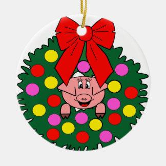 Ornement Rond En Céramique Porc en guirlande de Noël