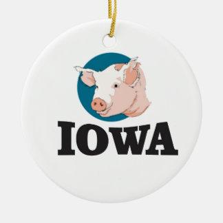 Ornement Rond En Céramique porcs de l'Iowa