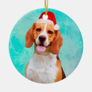 Ornement Rond En Céramique Portrait de casquette de Père Noël de Noël de