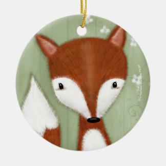 Ornement Rond En Céramique Portrait de Fox