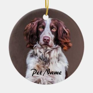 Ornement Rond En Céramique Portrait de peinture à l'huile de chien d'épagneul