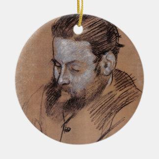 Ornement Rond En Céramique Portrait d'Edgar Degas | de Diego Martelli