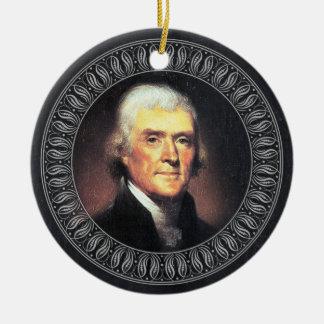 Ornement Rond En Céramique Portrait et citation de Thomas Jefferson - doubles