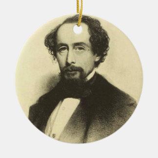 Ornement Rond En Céramique Portrait vintage de Charles Dickens
