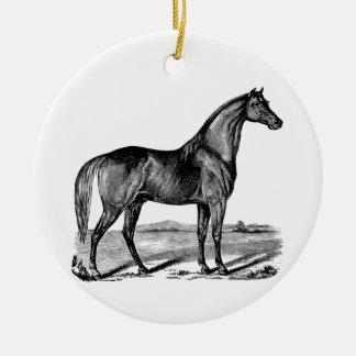 Ornement Rond En Céramique Position vintage de cheval
