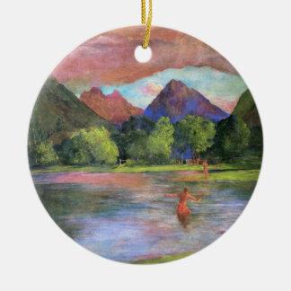 "Ornement Rond En Céramique ""Postluminescence, rivière de Tautira, Tahiti"" -"