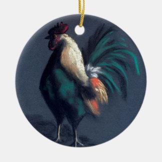 Ornement Rond En Céramique Poulet en pastel de coq