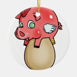 Ornement Rond En Céramique Poulet, porc, Cheeken-Peeg !